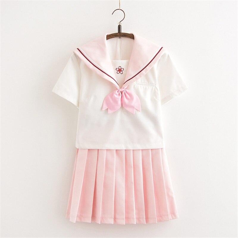 Light Pink School Girl Uniform Japanese School Uniform Class Uniforms Sailor Suit Female Students Uniforms