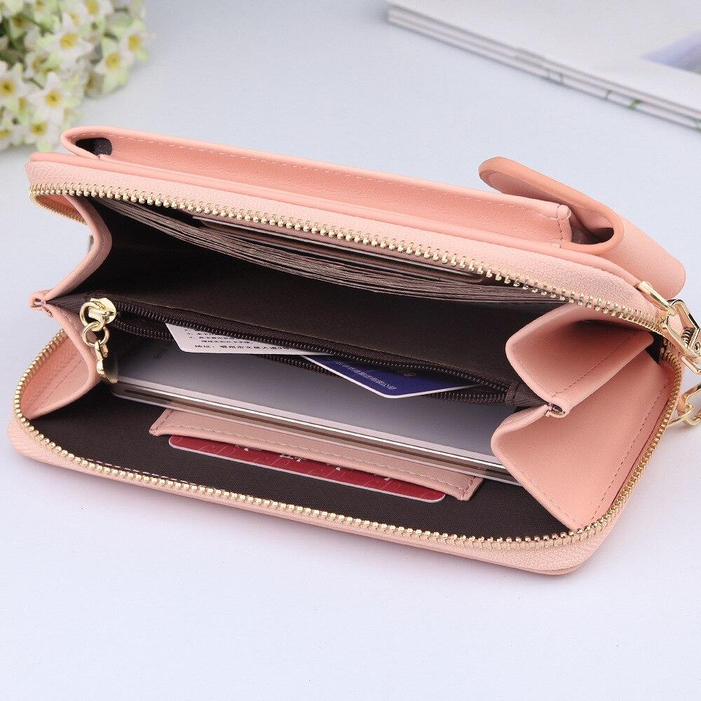 2021 для женщин кошелек однотонные Цвет кожаные плечевые ремни сумка Мобильный телефон большой с отделением для карт, чехол для телефона с функцией кошелька и сумочки с карманами для девочек|Кошельки| | АлиЭкспресс
