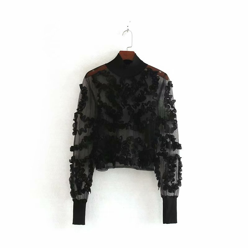 New Women Sexy Appliques Transparent Casual Black Shirts Blouses Women Long Sleeve Patchwork Mesh Roupas Femininas Tops LS4513