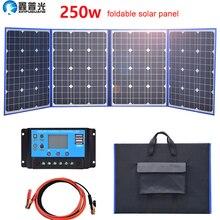xinpuguang Гибкая панели солнечных батарей солнечная батарея панель складной 250w 12v/18v домашний открытый комплект 200w портативное зарядное устройство аккумулятора 5v USB для кемпинга автомобиля телефона туристическ