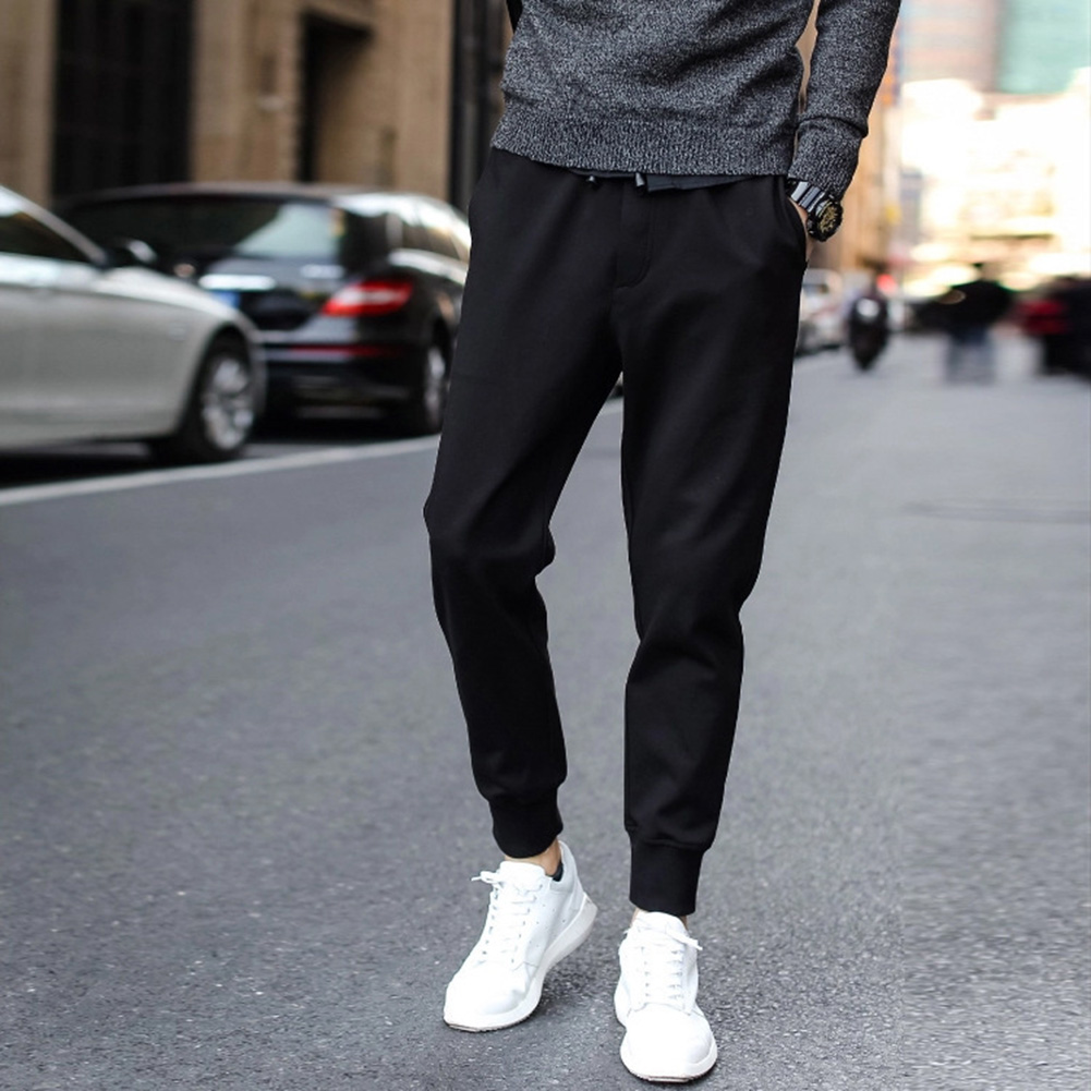 Men Drawstring Soft Loose Polyester Elastic Waist Running Sports Pants Solid Exercise Outdoor Long Trousers Casual