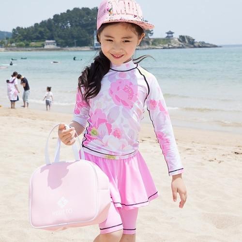 Children Big Boy Split Type Shorts Long Sleeve Sun-resistant Tour Bathing Suit Nifty Sweet Korean-style Bathing Suit Girls Dress