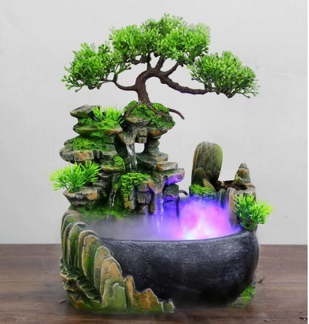Modern Waterfall Desktop Fountain Landscape Home Practical Humidifier Beauty Scenery Living Room Home Decor Crafts 1