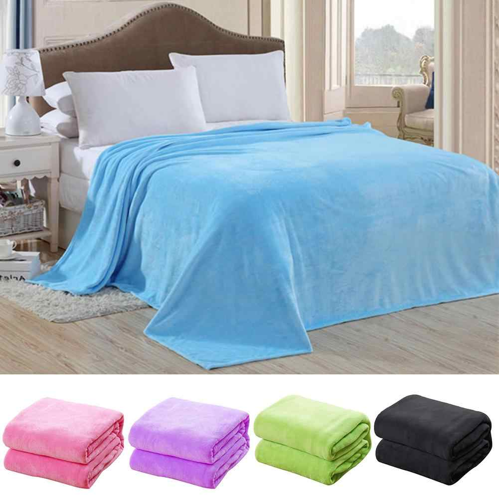 Soft Solid Color Warm Blanket Bed Blanket Throw Blanket Home Living Room Bedspread Bedding Cover Rug Decor