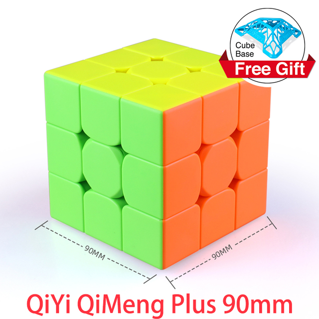 QiYi QiMeng Plus 3x3 90mm Stickerless Magic Cube Big 3x3x3speed cube 9cm antistress cubes Learning Educational Puzzle Cubes Toys 1