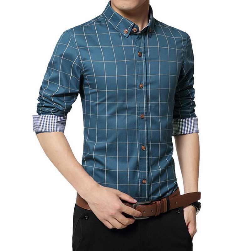 5XL Plaid Gedruckt Langarm Formale Männer Hemd drehen-unten Kragen Männlichen Business Kleid Mode Patchwork Shirts Tops