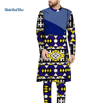 Mens African Clothing Bazin Riche Patchwork Long Sleeve Top and Pants 100% Cotton 2 Pieces Pants Sets Long Shirt Tops WYN1264