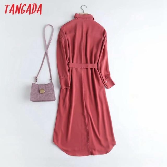 Tangada Fashion Women Elegant Solid Shirt Dress High Quality Long Sleeve Ladies Midi Dress Vestidos 4C58 6