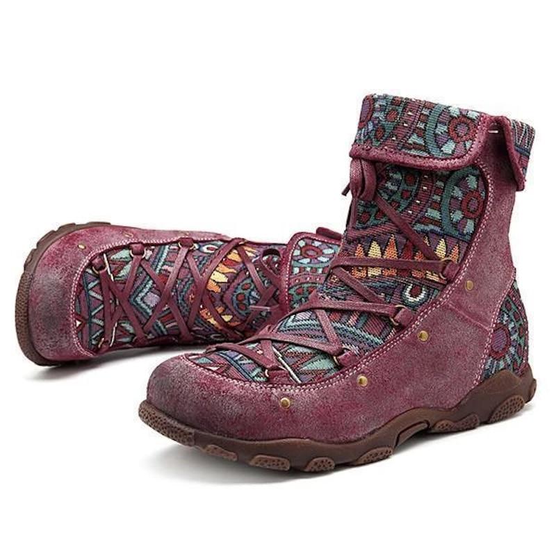 Moda 2020 işlemeli kadın botları sonbahar kış Boho bayanlar yuvarlak kafa kısa çizmeler kadın dantel-up çizmeler rahat Dropshipping
