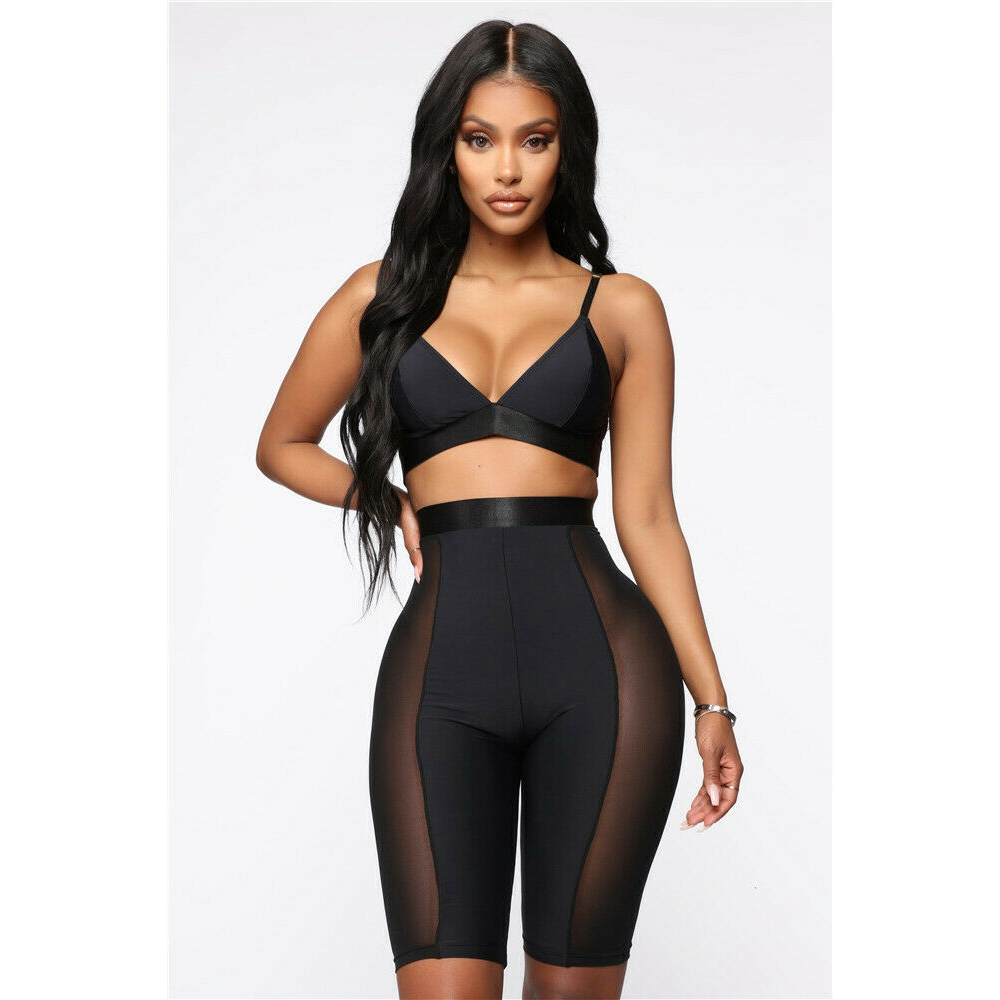 Summer Women Cycling High Waist See-through Lace Patchwork Shorts Dancing Gym Biker Hot Joggers Active Casual Sports Shorts