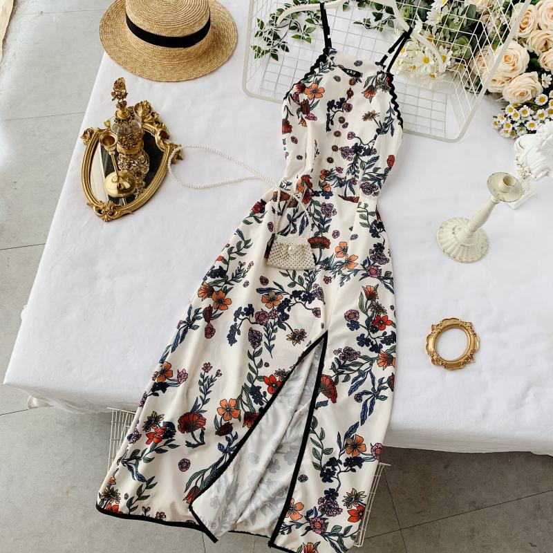 2019 New Fashion Women's Dresses Printed Slim Vintage Sexy Split Dress