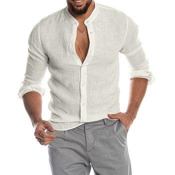 Ανδρικό casual o-neck λινό πουκάμισο