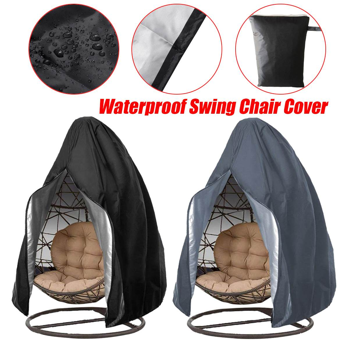210D Large Hanging Swing Chair Cover Waterproof Patio Swing Dustproof Chair Cover For Outdoors Garden Protective Case(China)