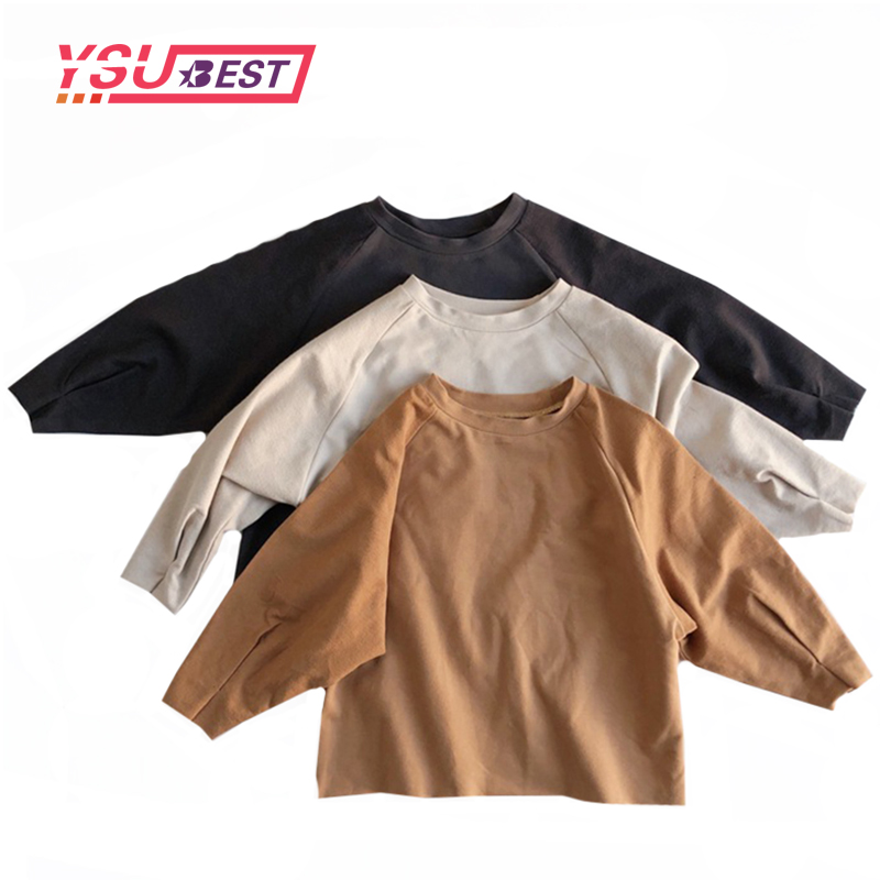 Toddler Shirts Girls T Shirts 2020 Autumn Kids Clothes Boys Girls Blouse Cotton Little Kids Base Blouse Boys Tops Korean Style 1