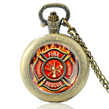 High Quality Vintage Fire Rescue Glass Dome Quartz Pocket Watch Classic Men Women Bronze Necklace Pendant Gifts