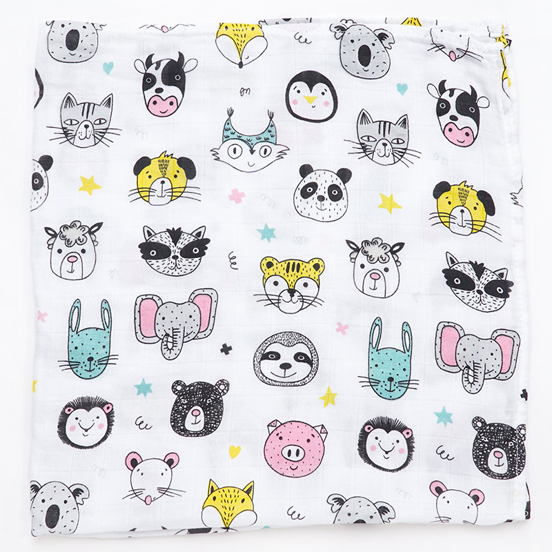 60*60 Bamboo Cotton Baby Bibs Blanket Soft Cartoon Animal Print Newborn Scarf Handkerchief Multi-function Wrap Burp Cloths Stuff