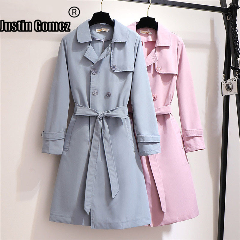 Double-breasted Loose Female Clothes Plus Size Lightweight Girls   Trench   Coat Turndown Collar Long Sleeve High Quality Long Coat