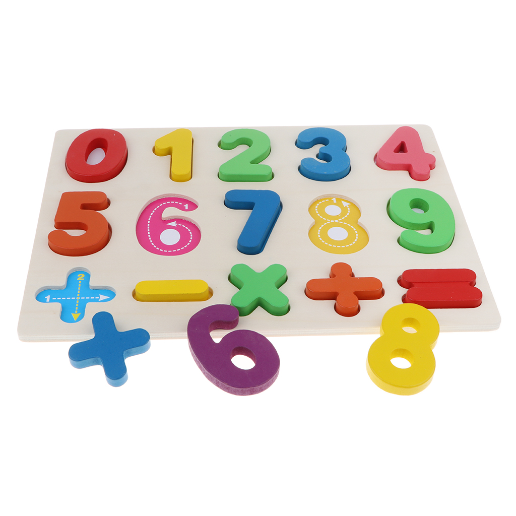 Wooden Colorful Numbers Blocks 0 ~ 9 Arithmetical Puzzle Board Kids Toy Math Educational Learning Early Counting Game