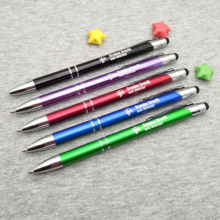 FREE Personalized Ball pen with logo names 2 in 1 Capacitive screen Touch Stylus Pencil BallPen For smart Phone Laptop