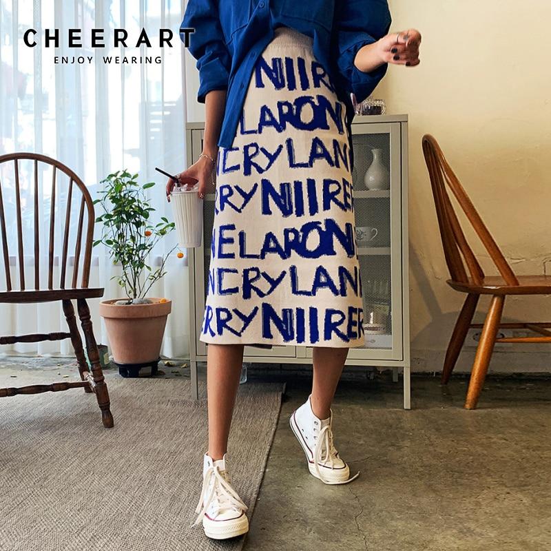 CHEERART Sweater Skirt Women Letter Print Knitted Korean Skirt Hgih Waist Long Winter Wrap Skirt Designer 2019 Fashion
