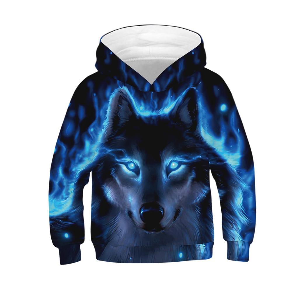 Spring Autumn Wolf Hoodie Kids Animal 3D Print Long Sleeve Teen Boys Girls Hoodies Sweatshirt Children Hooded Tops Pullover