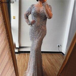 Image 3 - Dubai prata o neck sereia vestidos de noite design 2020 luxo mangas compridas lantejoulas miçangas vestido de noite la70249
