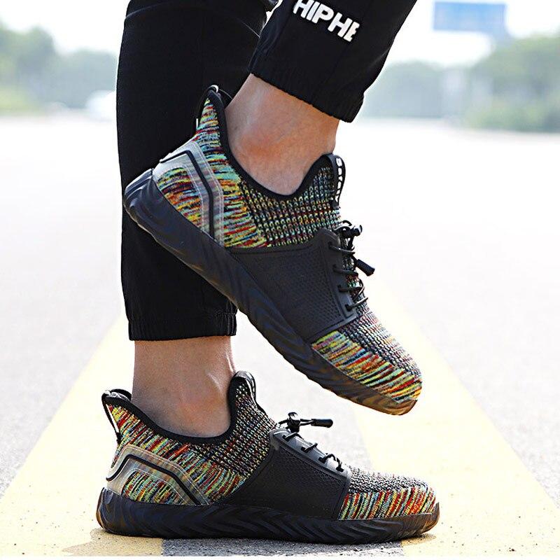 Chaussures de travail En Acier Orteil Bottes Plates Respirant Maille (Air Mesh) chaussures pour hommes sans lacet décontracté Chaussures De Sécurité Chaussures De Mode 2019 Hommes