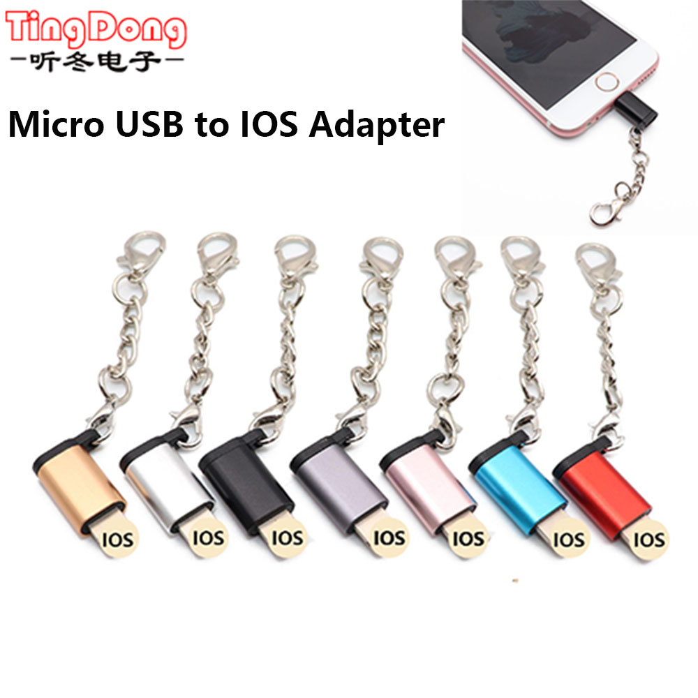 Micro USB To IOS OTG Adapter For Iphone X 6S 7 8 Plus Sync Data Charging Converter Key Chain For Ipad Mini Adapters