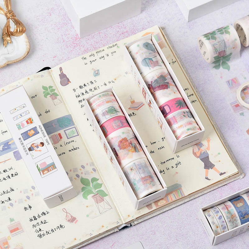 Mohamm 6 Pcs Worry Solution Library Series Diary Kawaii Washi Masking Tape Paper Scrapbooking Stationery Decorative Tape