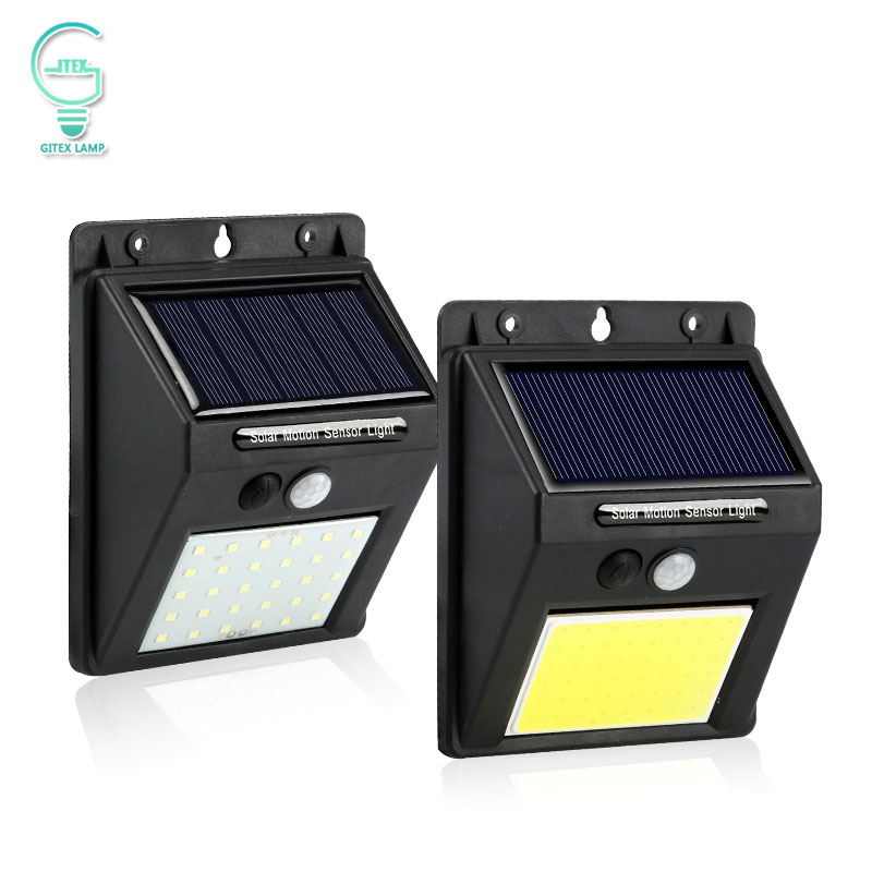 Lumière solaire Rechargeable 20 30 48 60 96 LED étanche PIR capteur de mouvement sécurité lampe solaire extérieure applique murale de secours