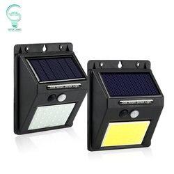 Luz solar recarregável de 20/30/48/60/96 led, sensor de movimento pir, iluminação de segurança, para áreas externas, luz de parede de emergência