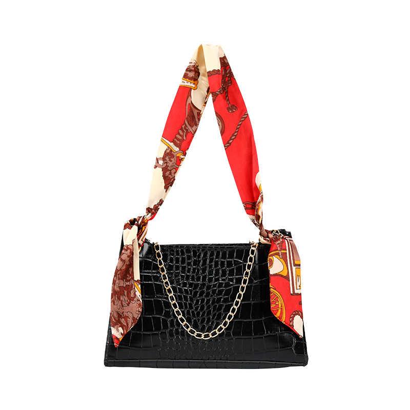 2020 Trend w modzie kobiety elegancka torba na ramię klasyczny wzór krokodyla torba materiałowa metalowy łańcuszek szaliki uchwyt projekty torebek