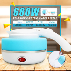 600ml Electric Kettle Travel Portable Mini Kettle Water Boiler Foldable Silicone Electric Kettles Collapsible Camping Kettle