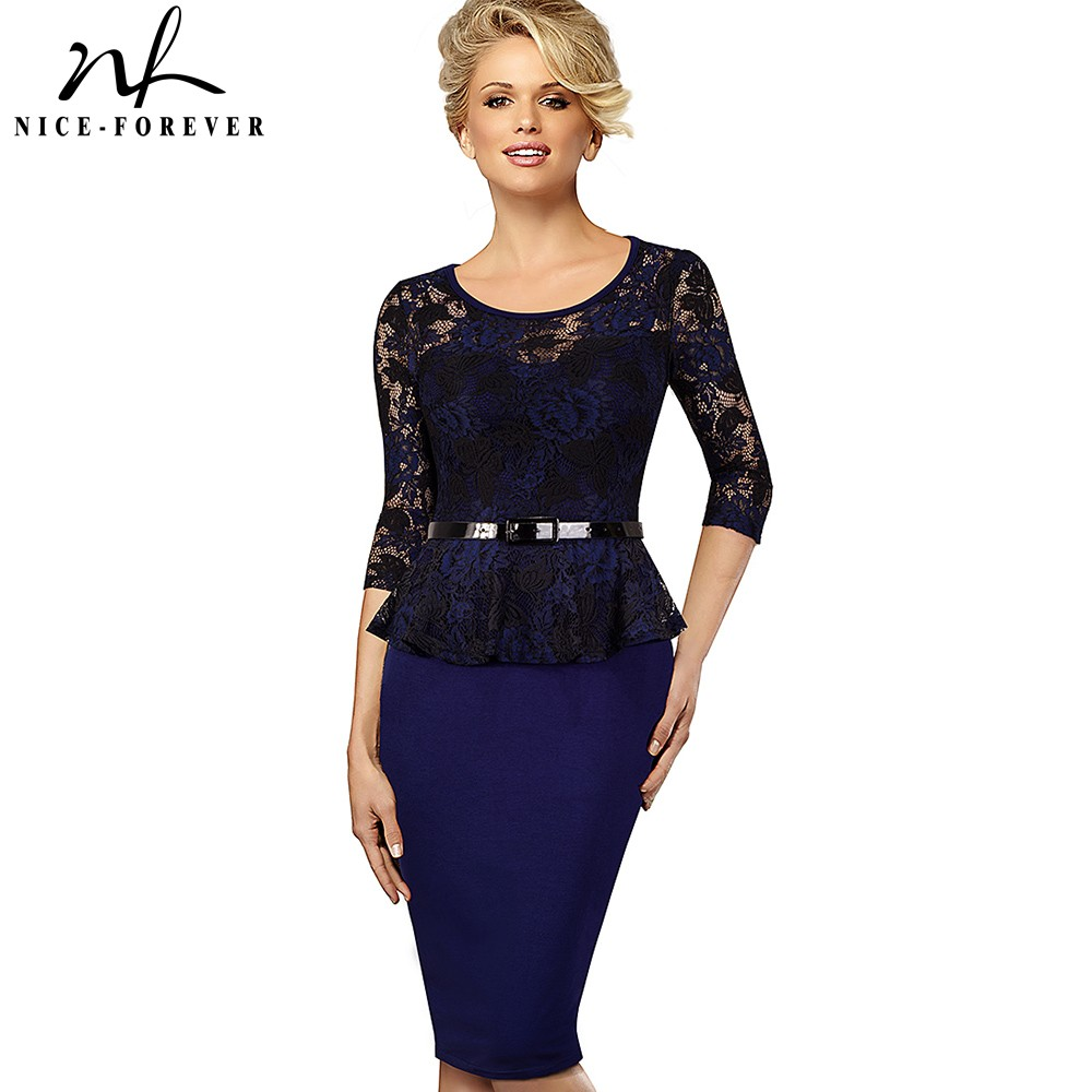 Nice-forever Vintage Lace Round Neck Peplum Tunic Dresses Bodycon Business Office Women Pencil Dress BtyB360