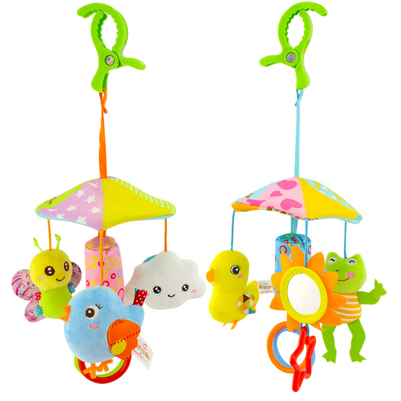 Baby Toy Cartoon Animal Stroller Crib Accessories Music Rotating Bed Hanging Appease Wind Chimes Soft Rattle Cute Bed Bell Toy