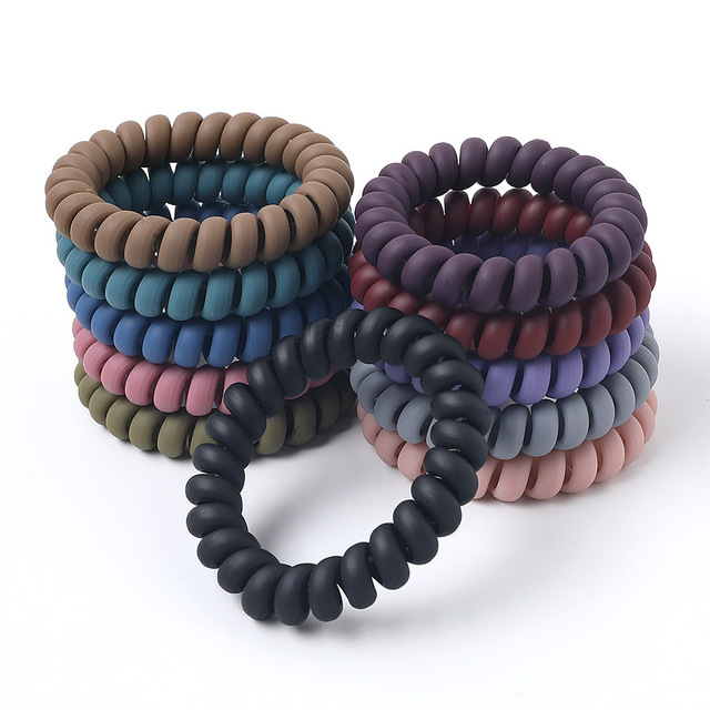 Women Matt Colors Glow in Dark Cloth Telephone Wire Rubber Bands Stretchy Colors Non-mark Spiral Coil Ropes Solid Hair Ties
