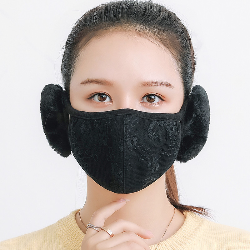 Winter Mask Cotton Breathable Soft Warm Mouth Mask With Ear Muff Dustproof Protective Eye Corner Stereo  Cyling Facial Masks