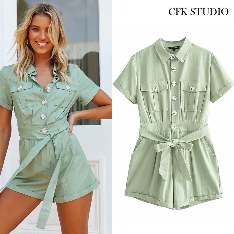 Women Playsuit 2020 New Summer With Turn-down Collar Short Sleeve Button Pocket Solid Playsuit Femme Casual Loose Green Playsuit