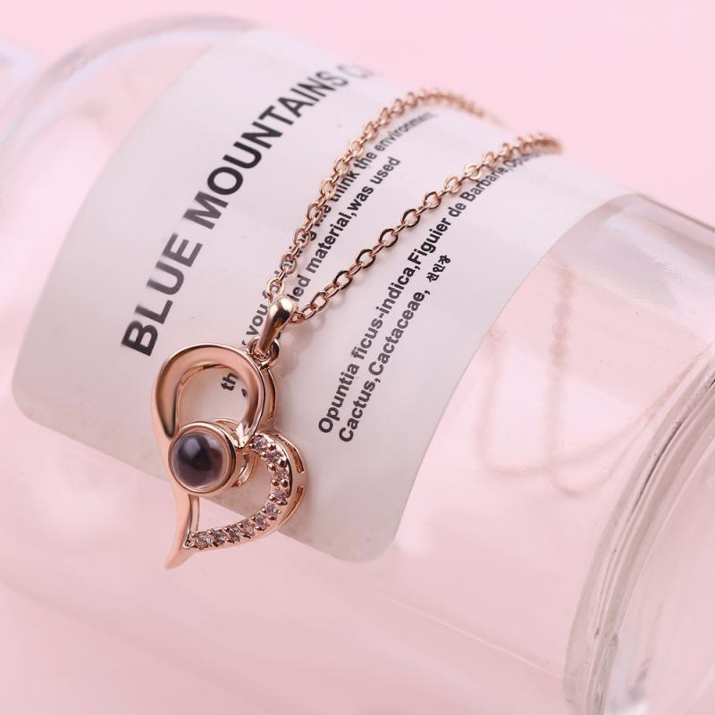I Love You Necklace Special Design Love Memory 100 Languages Heart Love Memory Projection Romantic Love Alloy Pendant Jewelry
