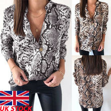2018 Autumn Spring New Women Snake Print Blouse Long Sleeves V neck Snakeskin Shirts High Street Fall Fashion Tops Blouses