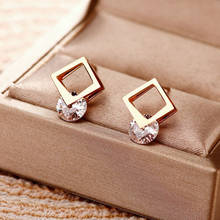 Trendy Korean Fashion Double Layer Hollow Square Zircon Stud Earrings For Women No Fade Rose Gold Stainless Steel Jewelry Female