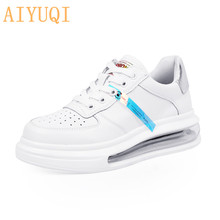 AIYUQI 2020 Summer New Women Shoes Round Head Lace-up Genuine Leather Cushion White Casual