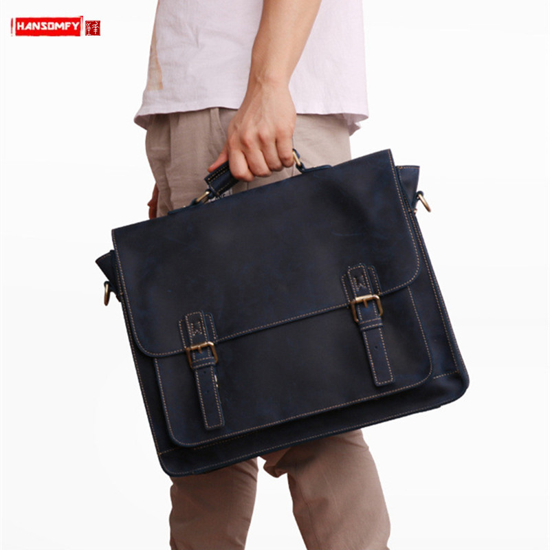 New Business Men's Leather Briefcase Men Handbags 15.6 Inch Computer Bag Crazy Horse Leather Retro Laptop Bag Male Travel Bags