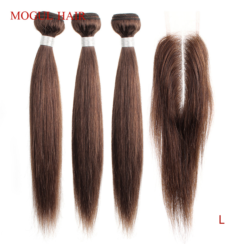 Mogul Hair Dark Brown Color 4 Indian Straight Hair Bundles With 2x6 Kim K Lace Closure Non-Remy Human Hair Natural Color