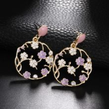 2019 New Arrival Trendy Jewelry Round Geometric Earrings Korean Stlye Fashion Accessories Pink Purple Drop Earrings Temperament Flower Earrings(China)