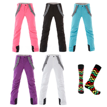 SMN Snowboard Bib Anti-Cold Pants Women Winter Water-Resistant Windproof Breathable Solid Color Outdoor Sports Skiing Trousers