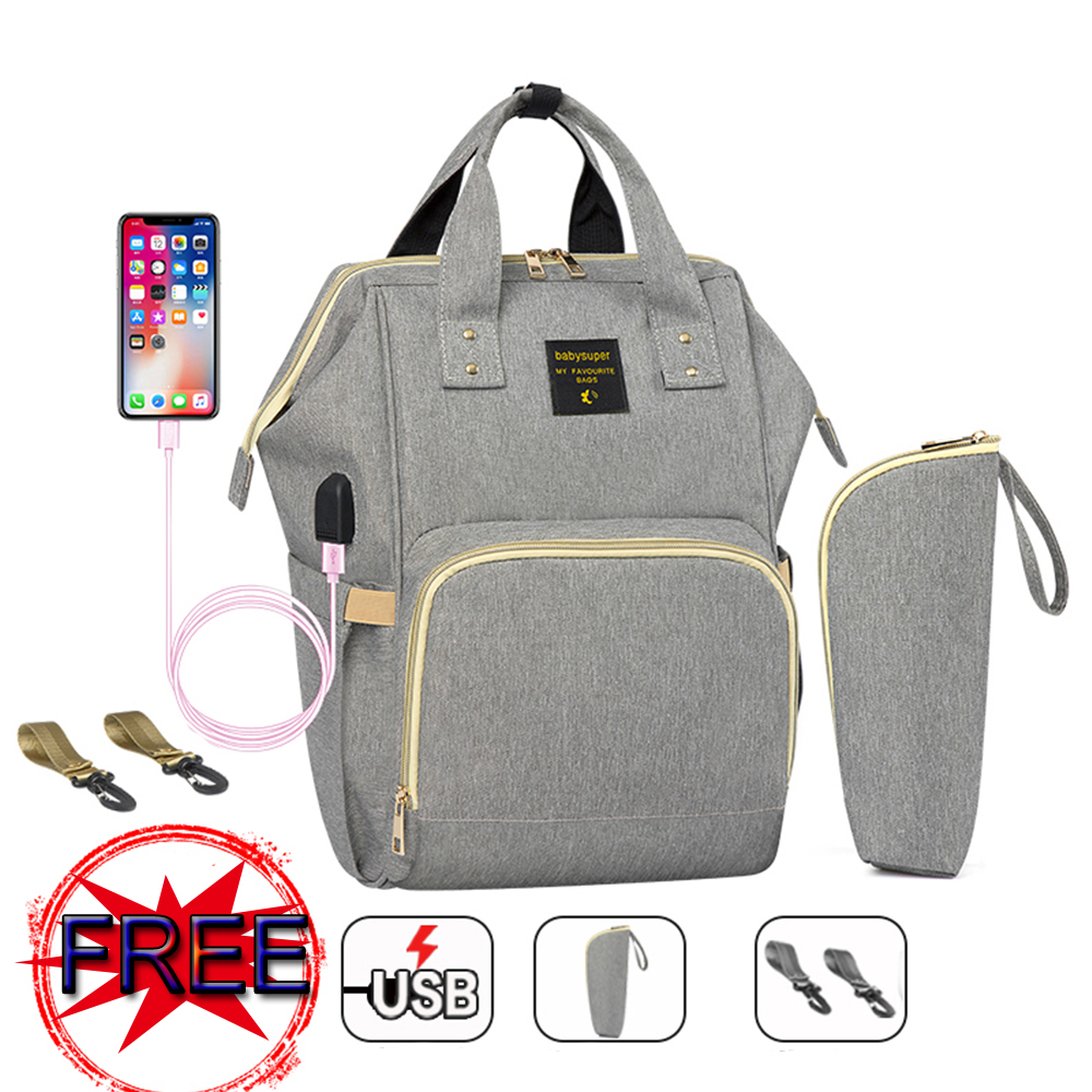 Mummy Backpack Large Capacity Maternity Diaper Bag With USB Interface Multifuctional Baby Nursing Bag Travel Backpack Baby Care