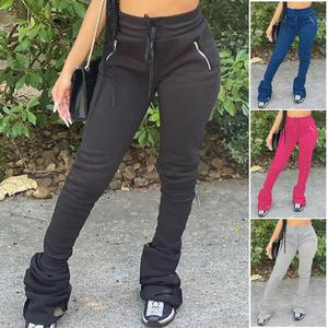 Autumn Winter Stacked joggers Pants Thicken Pokket Zipper Has stretch Pants Party Streetwear Trousers Clothes For Women