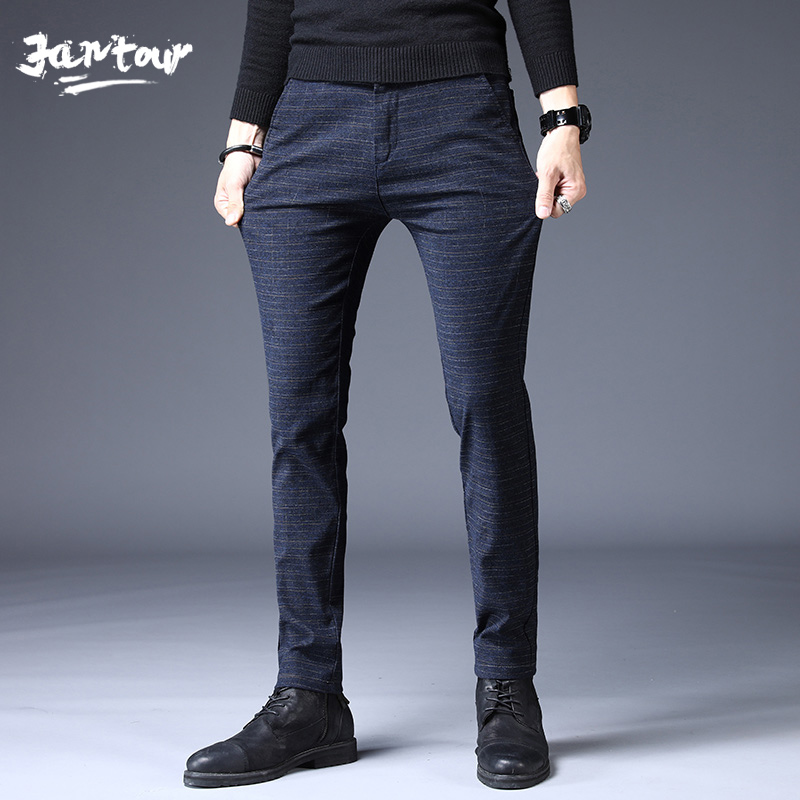 2020 Fashion Men Pants Slim Fit  High Quality Spring Summer Business Stripes Flat Classic Full Length Casual Trousers Male 28-38