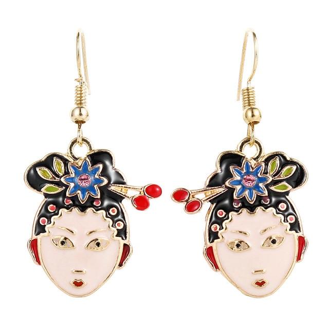 Am /_ CG /_ Chinesisch Peking Opera Gesicht Lange Ohrringe Quaste Ohrentropfen